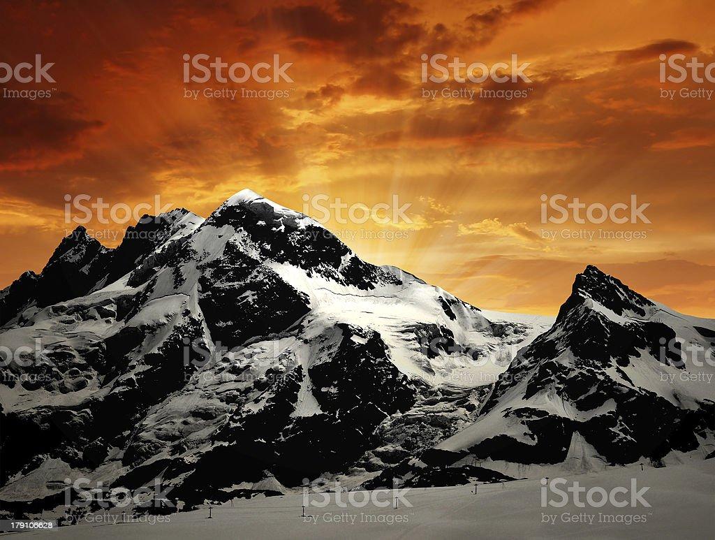 Breithorn and Klein Matterhorn royalty-free stock photo