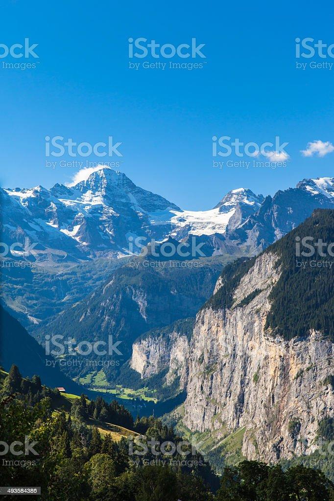 Breithorn and Lauterbrunnen valley stock photo
