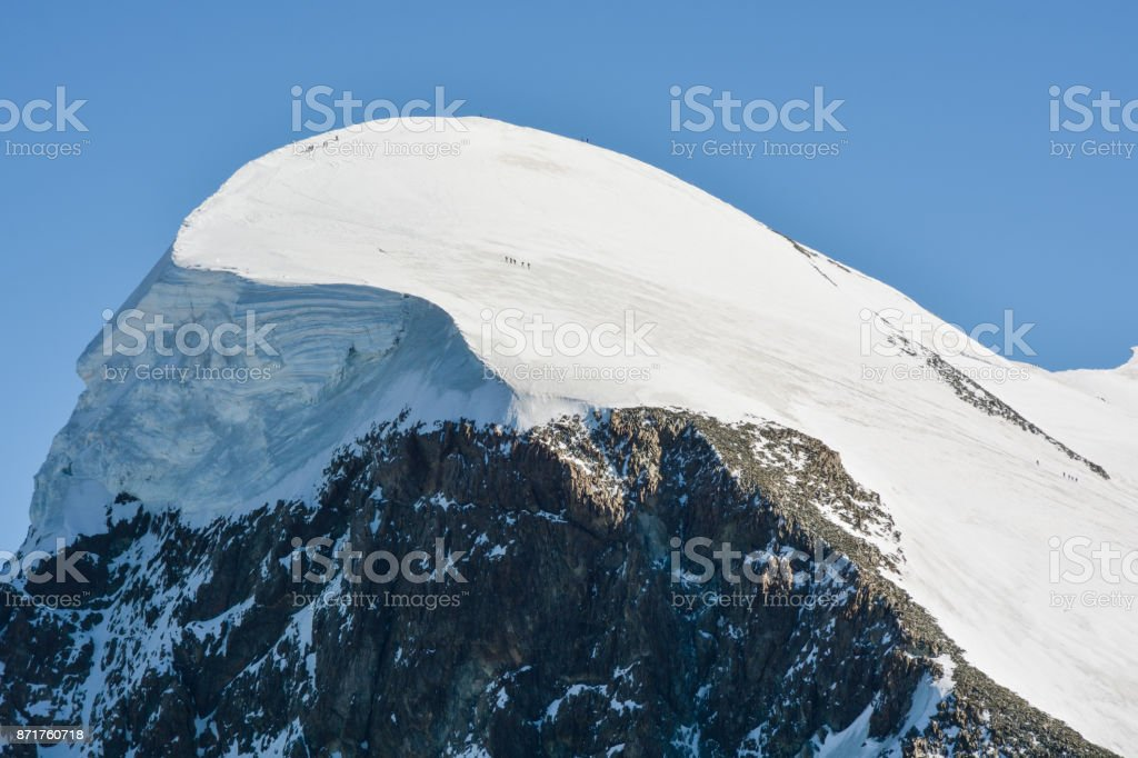 Breithorn, on of the most easily climbed 4,000 m Alpine peak stock photo
