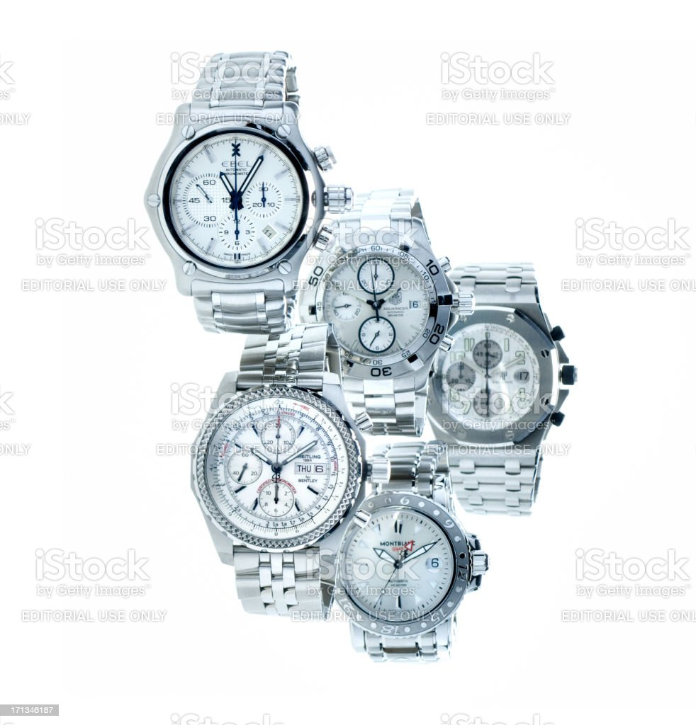 Breitling, Ebel, Tag Heuer, Montblanc, Audemars Piguet luxury Swiss wristwatches stock photo