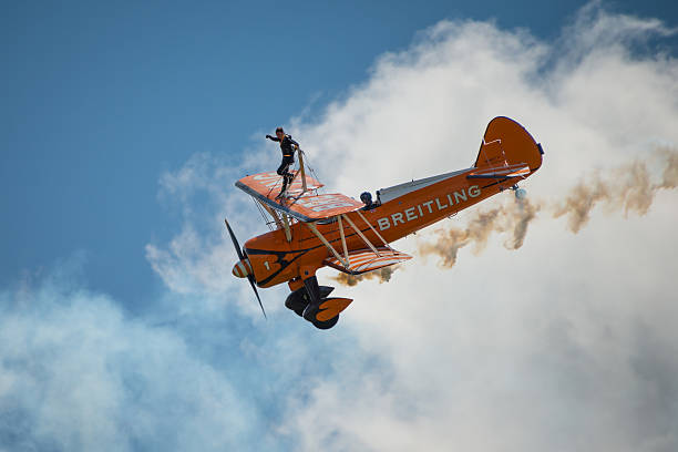 breitling wing walkers display team - daredevil stock pictures, royalty-free photos & images