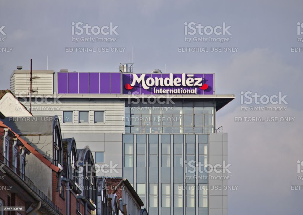 Bremen, Germany - November 11th, 2017 - Mondelez Germany headquarters building with large company logo