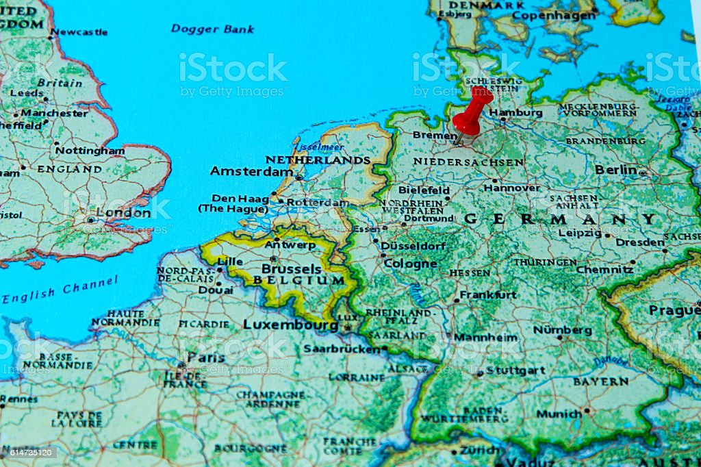 Map Of Bremen Germany.Bremen Germany Pinned On A Map Of Europe Stock Photo Download