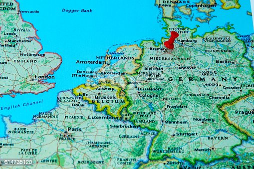 bremen germany pinned on a map of europe stock photo more pictures of arranging istock