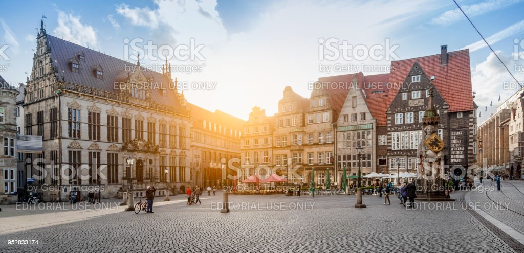 Bremen market square panorama at sunset, Germany stock photo