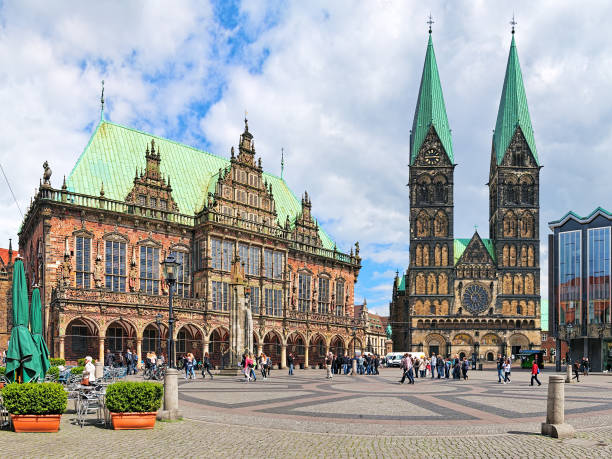 Bremen Market Square with Town Hall and Bremen Cathedral, Germany stock photo