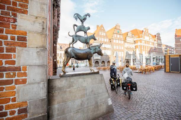 Bremen Musicians statue stock photo