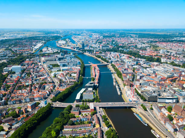 Bremen old town aerial view stock photo