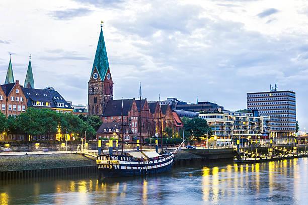 Bremen Skyline in the night stock photo