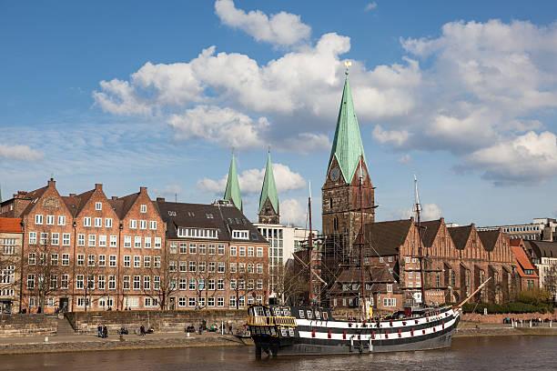 Bremen skyline with sailing ship stock photo