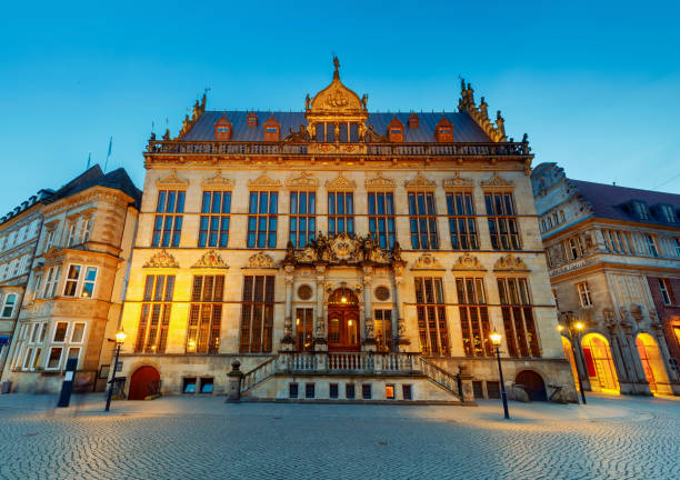 Bremen. The central market square. Chamber of Commerce stock photo