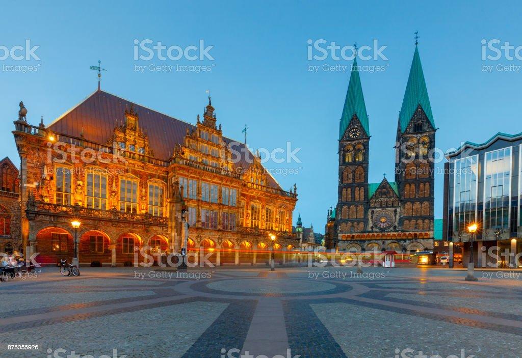 Bremen. La Plaza del mercado central. Pasillo de ciudad. - foto de stock