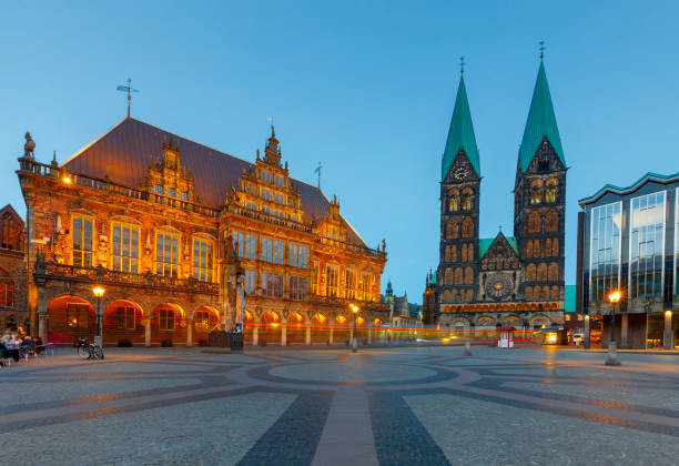 Bremen. The central market square. Town Hall. stock photo