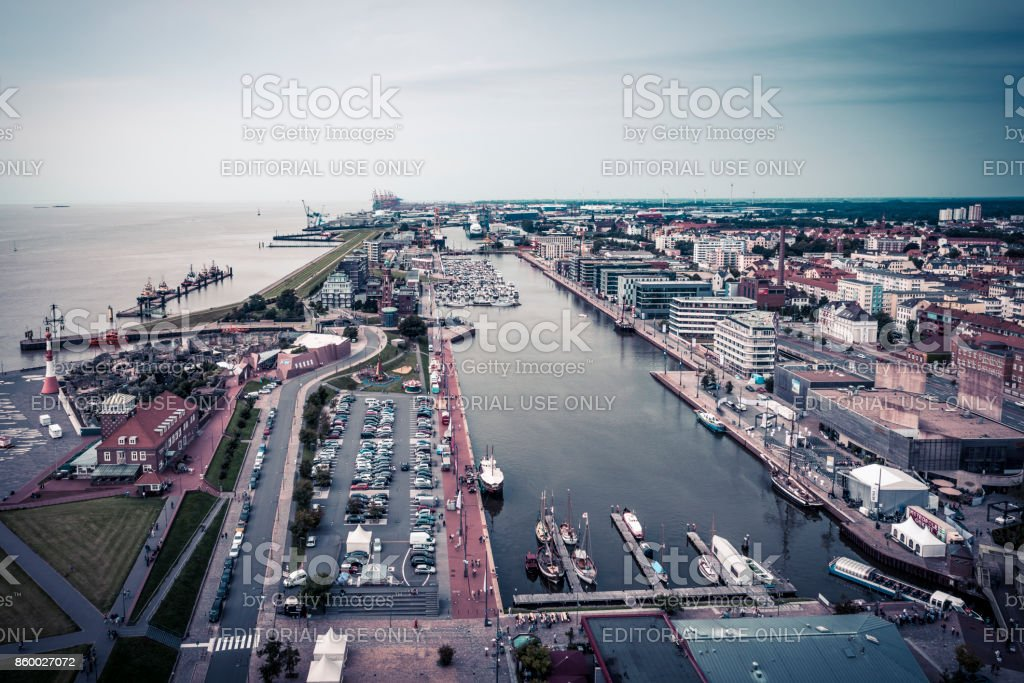 Bremerhaven areal view over harbor stock photo