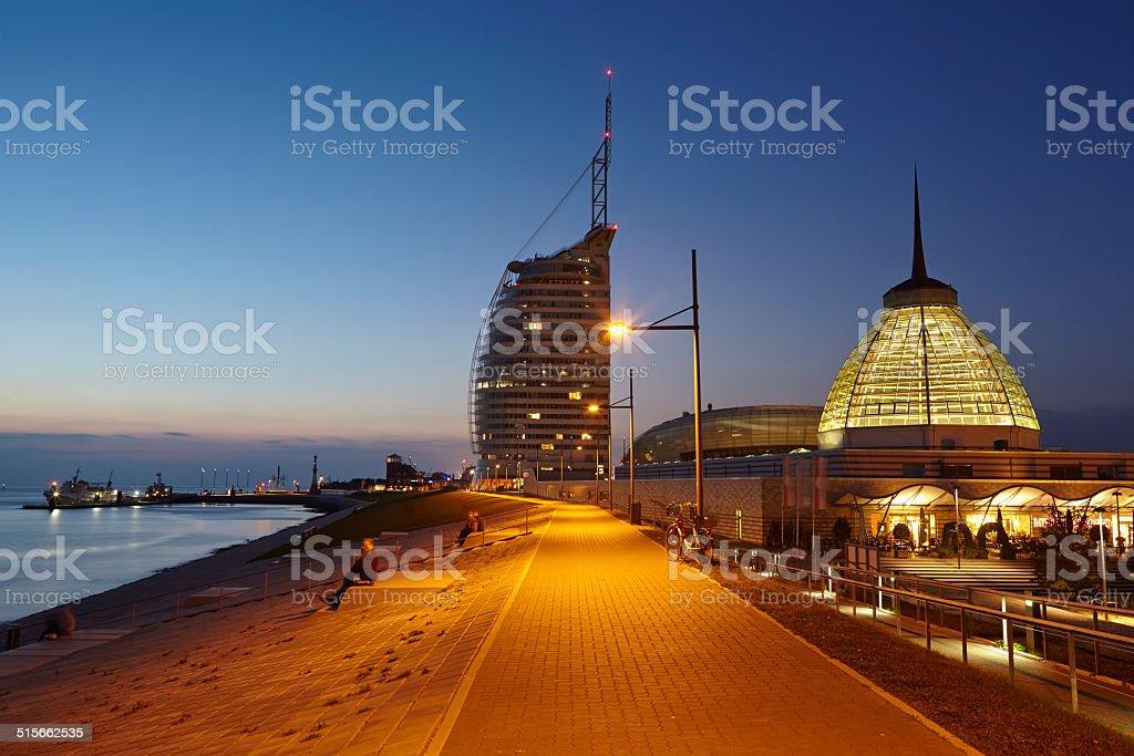 Bremerhaven (Germany) - Boardwalk in the evening stock photo