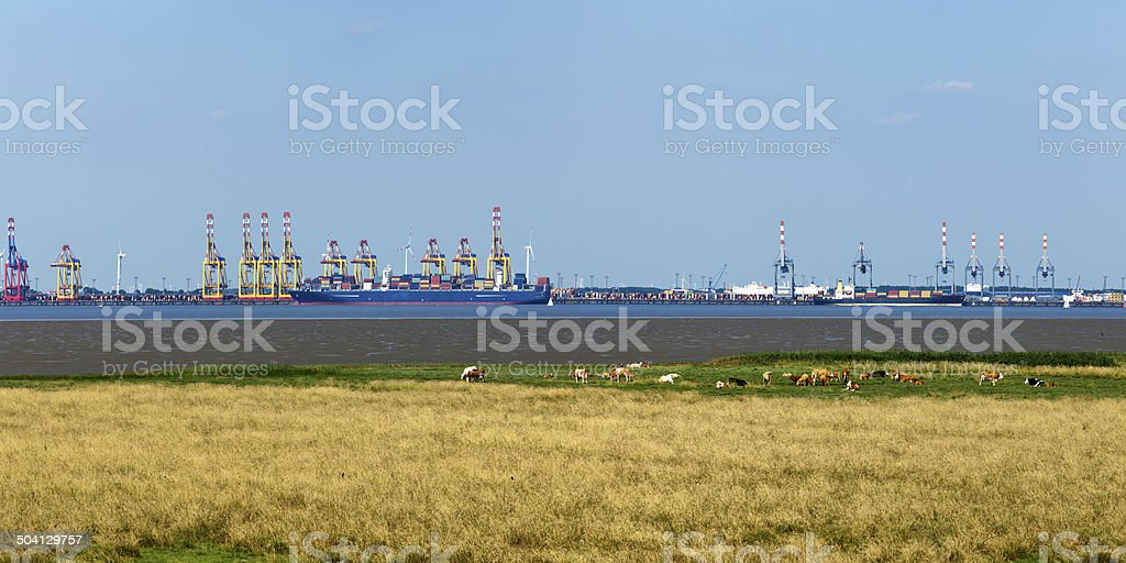 Bremerhaven container terminals panorama stock photo