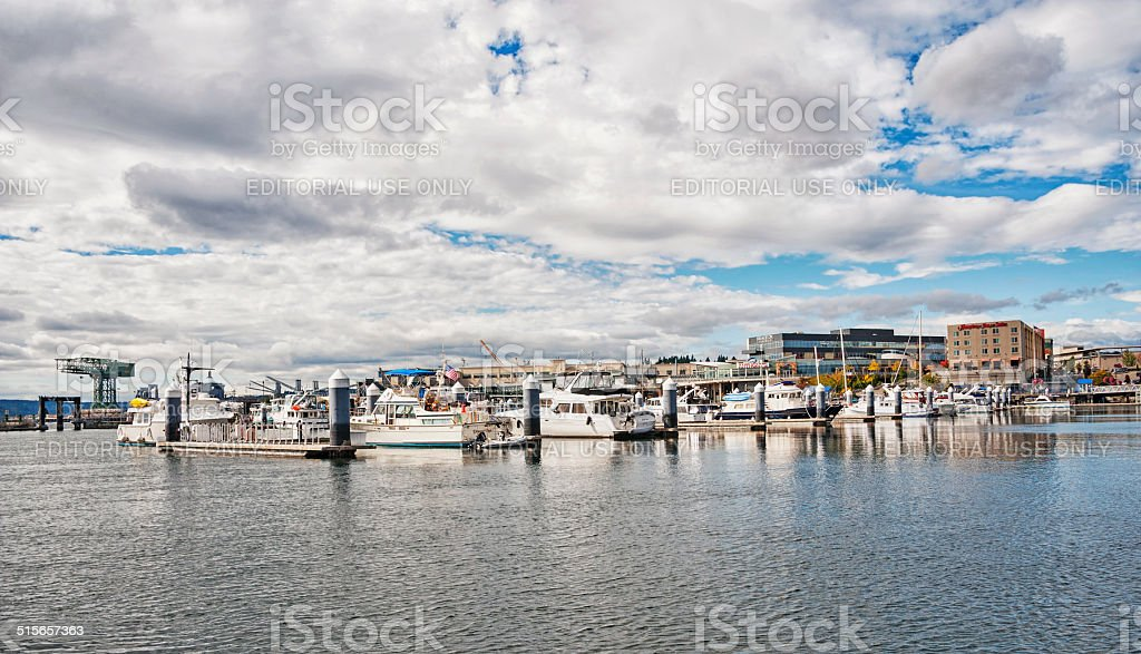 Bremerton Harbor and Boats stock photo