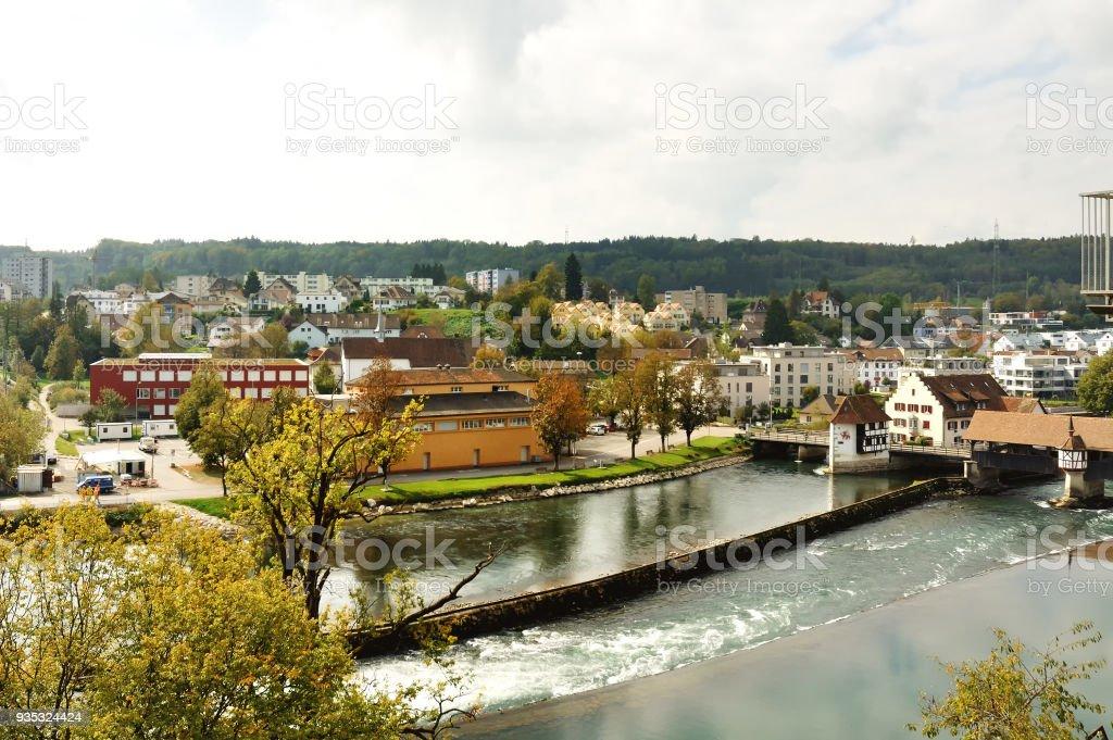 Bremgarten und Reuss Damm Blick auf den Fluss, Schweiz – Foto