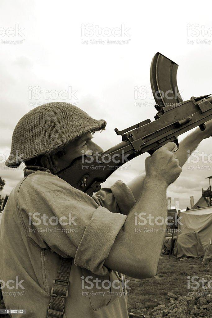 Bren Gun Soldier. stock photo