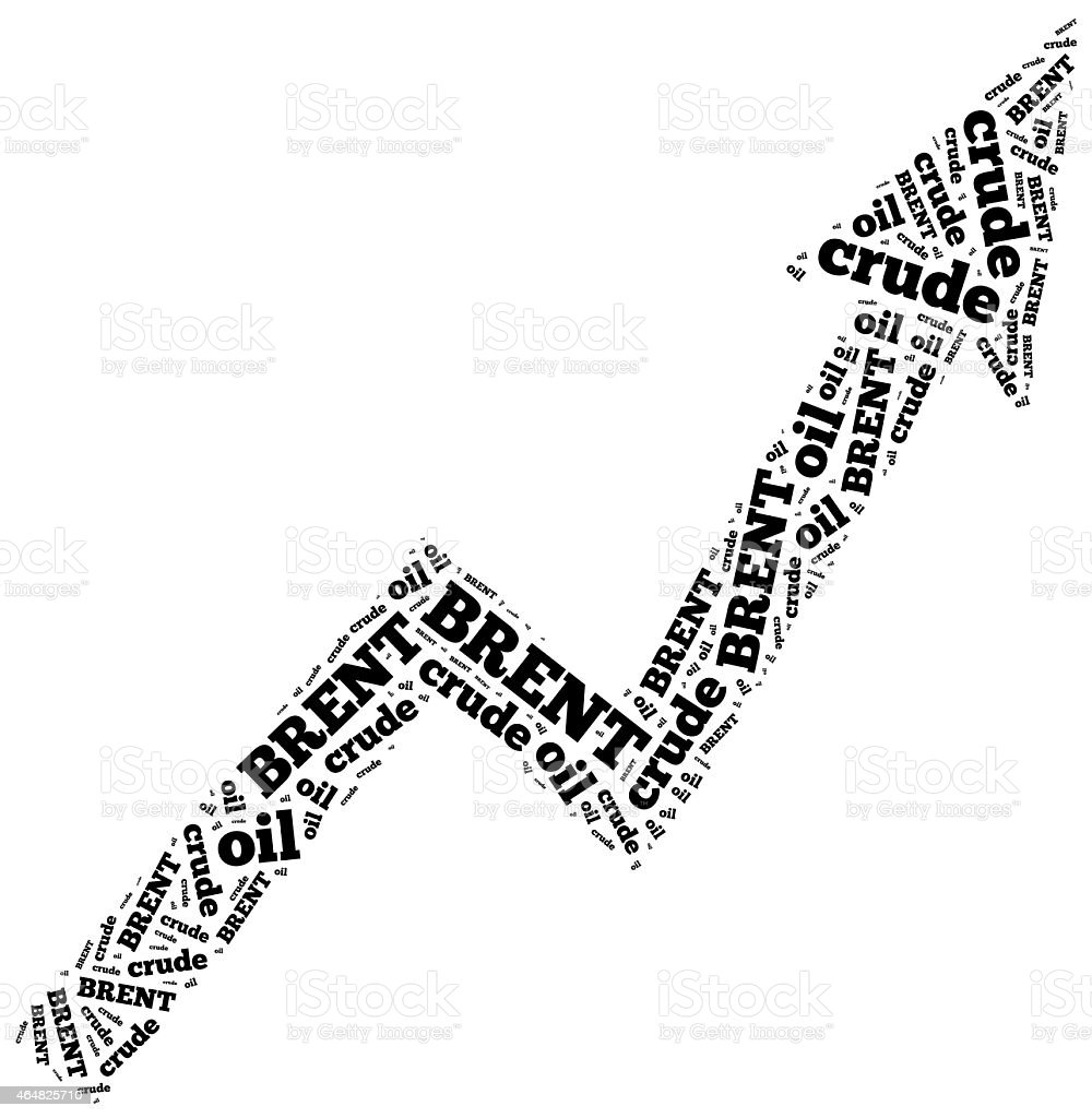 Brent crude oil commodity price growth. Word cloud illustration. stock photo