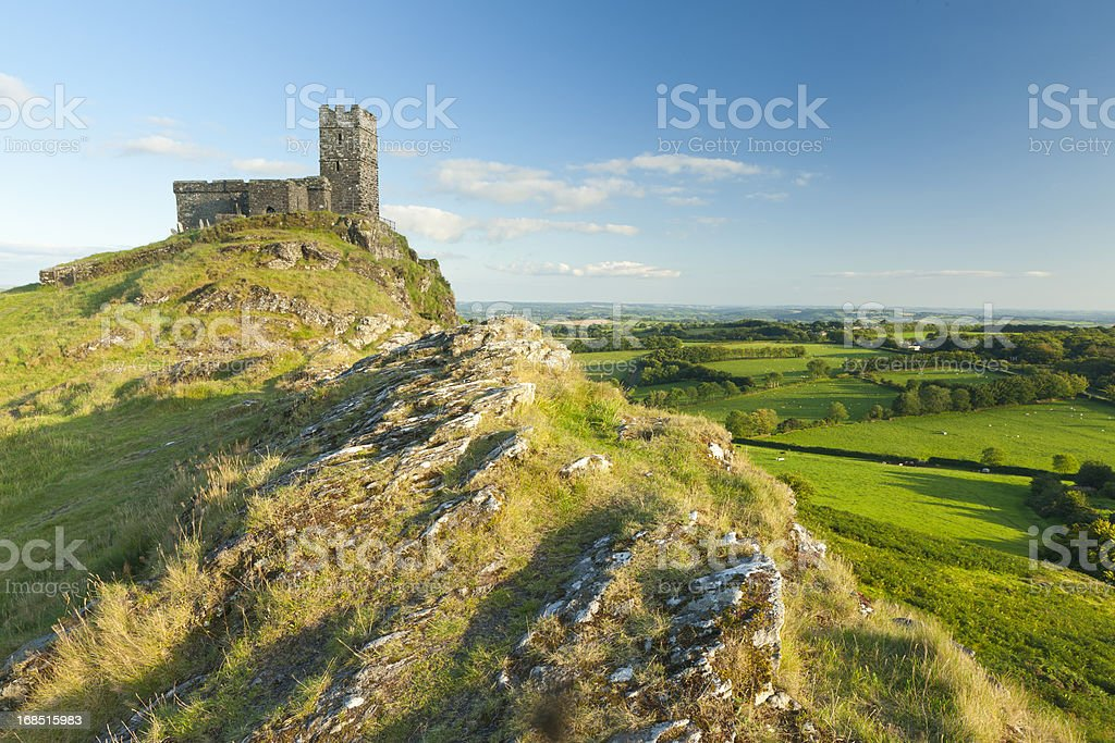 Brentor Church at sunset, Dartmoor National Park. stock photo