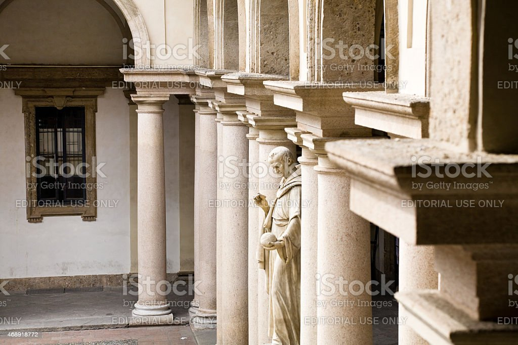 Brera Academy courtyard, Milan stock photo