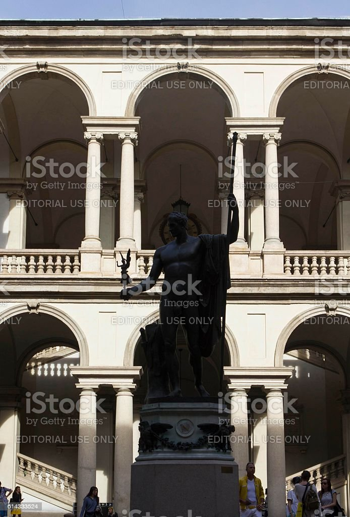 Accademia di Brera courtyard in Milan stock photo