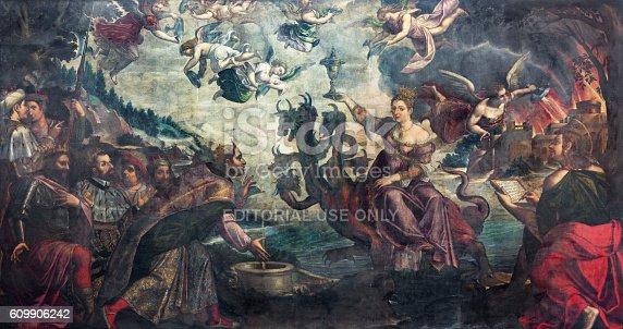 istock Brescia - Apocalyptic vision The courtesan Babylon sitting on dragon 609906242