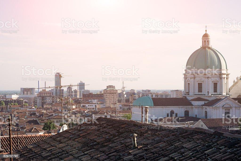 Brescia city landscape and the cathedral dome - foto stock