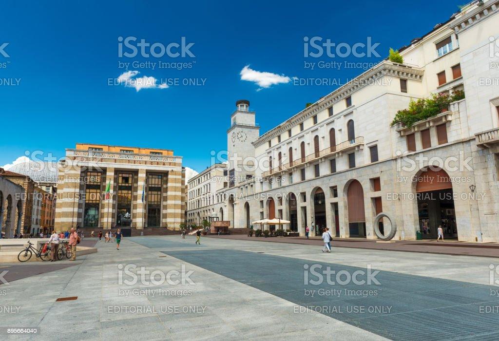 Brescia, Italy: The Square of Victory in the center of Brescia ('Piazza della Vittoria') - foto stock