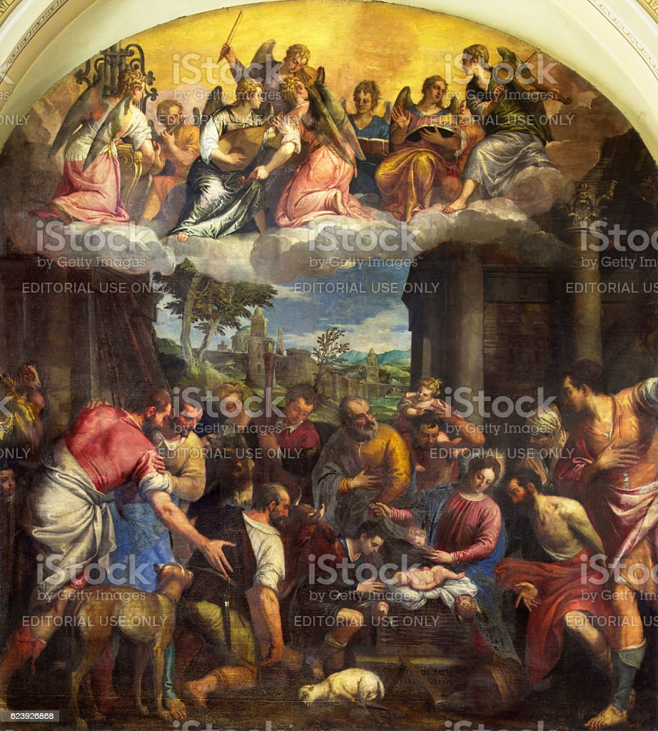 Brescia - painting Adoration of shepherds in Sant' Afra church stock photo