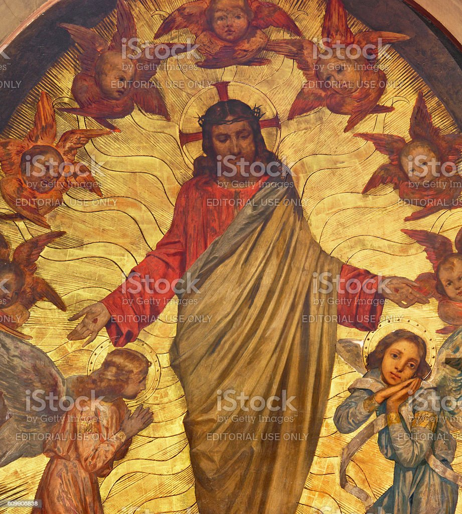 Brescia - painting of Jesus among the angels stock photo