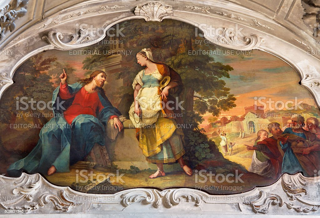 Brescia - Painting of Jesus and Samaritans at well stock photo