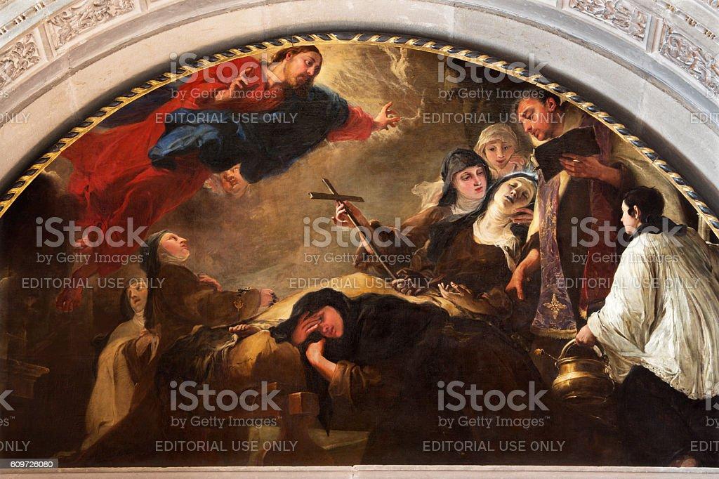 Brescia - painting The death of St. Theresa of Avila stock photo