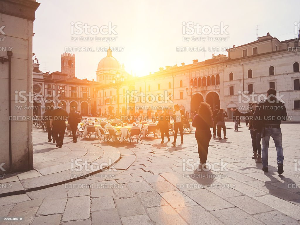 Brescia Piazza della Loggia, Italia settentrionale - foto stock
