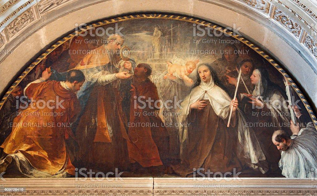 Brescia -  St. Theresa of Avila's vision of little Jesus stock photo