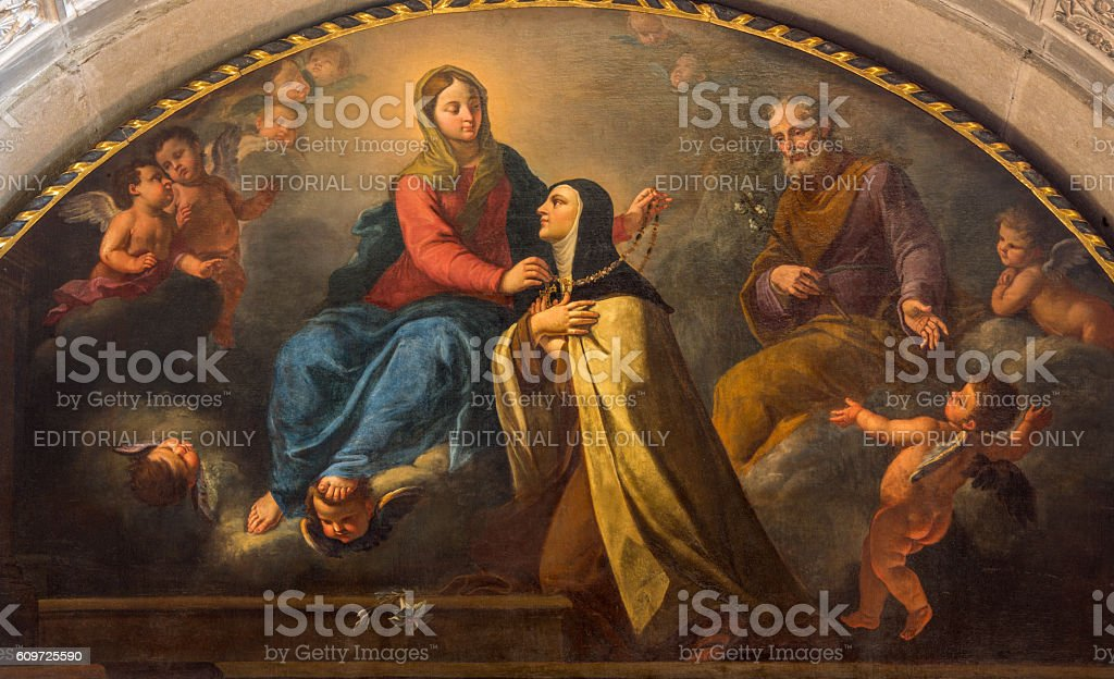 Brescia - St. Theresia getting from Madonna the gold necklace stock photo