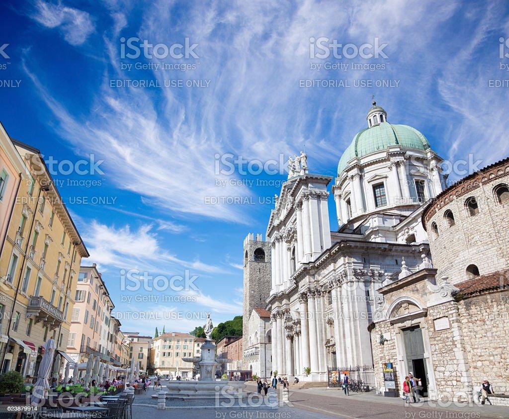 Brescia - il Dom (Duomo Vecchio e il Duomo Nuovo. - foto stock