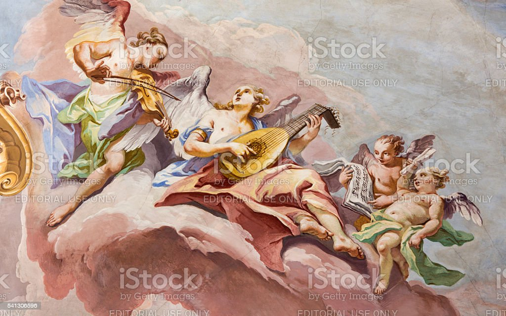 Brescia - The fresco  of choirs of angels stock photo