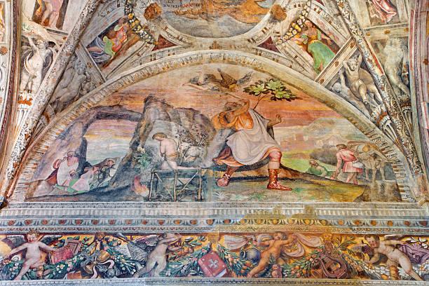 Brescia - The fresco of Sacrifice of Isaac stock photo