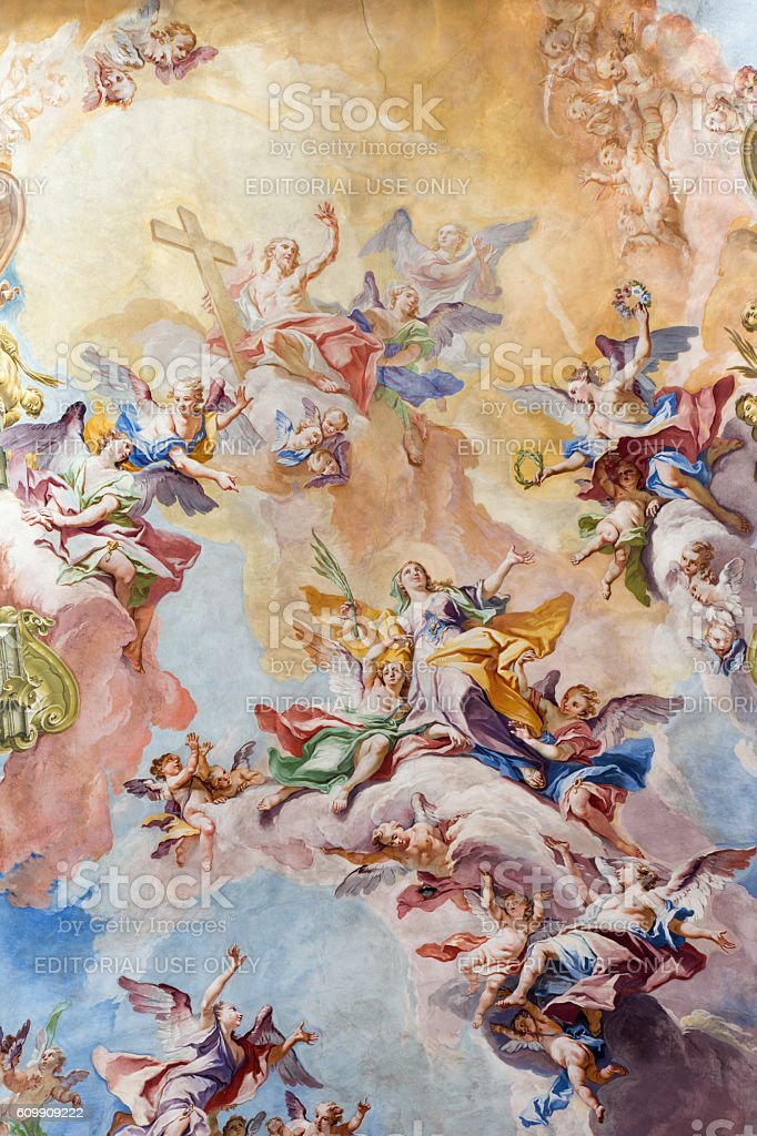 Brescia - The Glory of Santa Eufemia fresco stock photo
