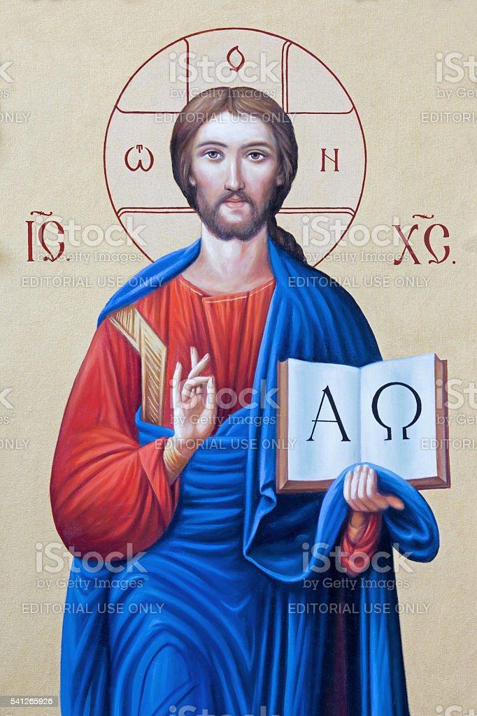 Brescia-o ícone de Jesus Cristo o Pantokrator - foto de acervo