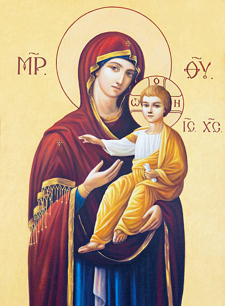 Brescia - The icon of Madonna Brescia, Italy - May 23, 2016: Brescia - The icon of Madonna in presbytery of church Chiesa di Angela Merici by unknown artist. religious saint stock pictures, royalty-free photos & images