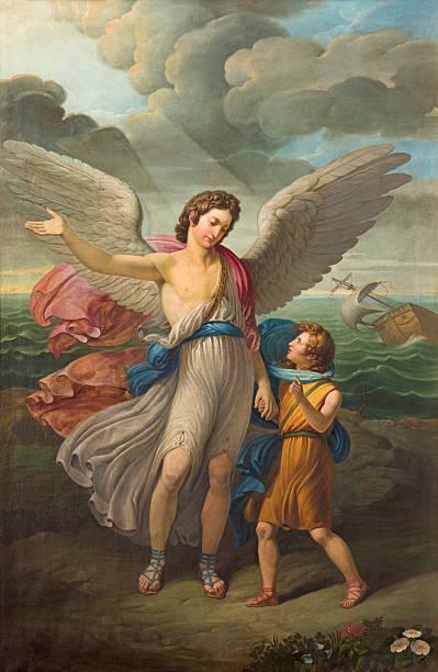 Brescia - The painting of Archangel Raphael and Tobias - foto de acervo