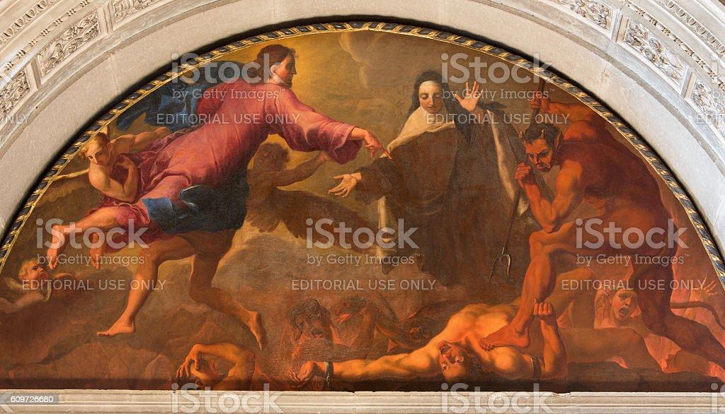 Brescia - The painting St. Theresa of Avila's vision stock photo