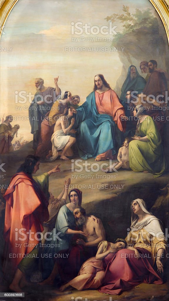Bresica - The panting of Sermon of Jesus stock photo