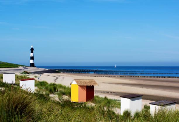 Breskens Lighthouse in Netherlands stock photo