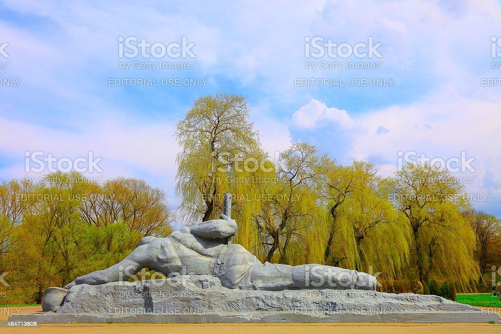 """Brest Fortress Soviet War Memorial fallen warrior 'Thirst"""", Belarus stock photo"""
