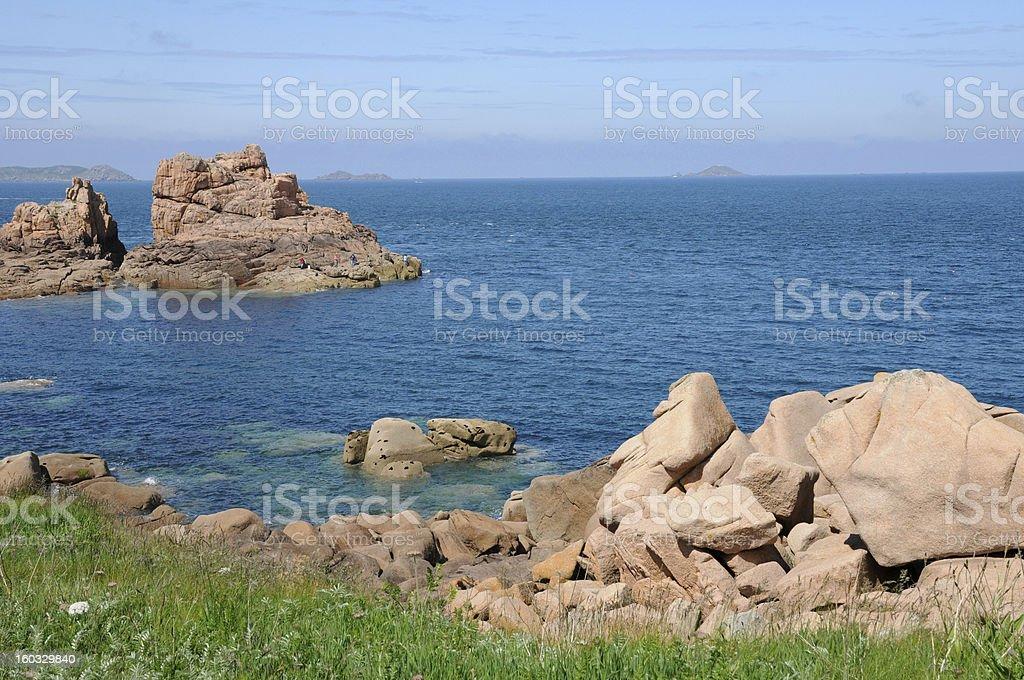 Bretagne, pink granit rocks in Ploumanach royalty-free stock photo