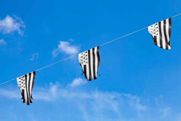 Breton bunting flags stock photo